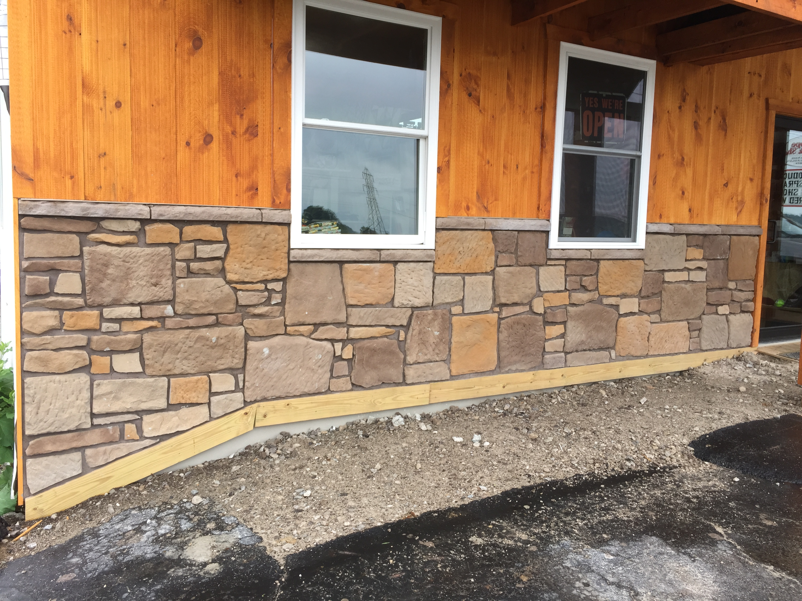 stone and wood wall