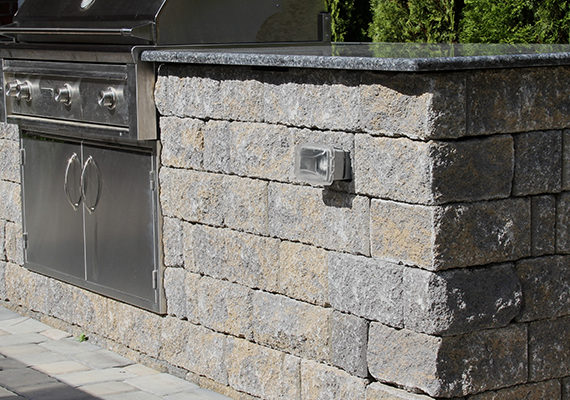 stone ledge with grill
