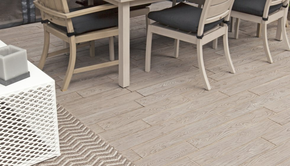 wood flooring under outdoor furniture